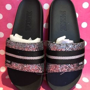 NWT VS PINK sparkly single strap Slides